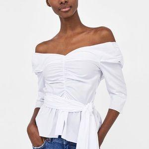 Zara white poplin off the shoulder blouse top